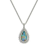 Pear Shaped Opal & Diamond Pendant