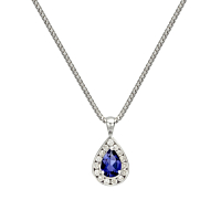 Pear Shaped Sapphire & Diamond Pendant