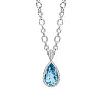 Aquamarine And Diamond Cluster Pendant