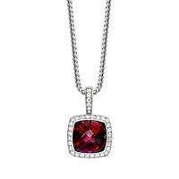 Rhodolite Garnet And Diamond Pendant