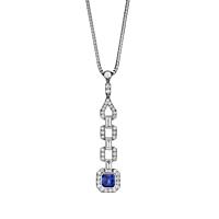 Art Deco Style Sapphire And Diamond Pendant