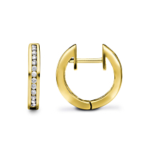 18Ct Gold Channel Set Diamond Hoop Earrings