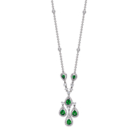 Emerald And Diamond Chandelier Necklace