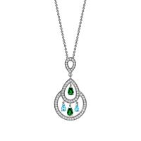 Tourmaline, Topaz & Diamond Chandelier Necklace