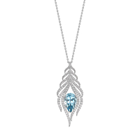 Aquamarine & Diamond Feather Necklace