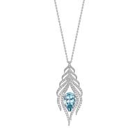 Aquamarine & Diamond Feather Necklace
