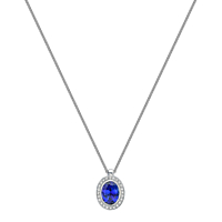 Tanzanite and diamond cluster pendant