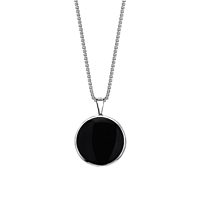 Onyx & Mother Of Pearl Round Pendant