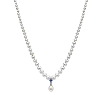 Freshwater Peal And Sapphire Flower Necklace