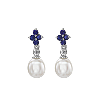 Sapphire & Diamond Flower Shaped Drop Earring