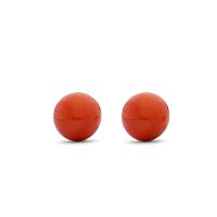 Red Coral Stud Earrings, 6Mm