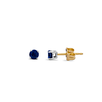 18Ct Gold Round Sapphire Stud Earrings