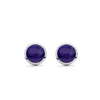 Lapis And Silver Studs, 8Mm