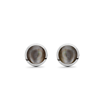 Dark Mother Of Pearl & Silver Studs, 8Mm