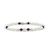 Lapis & Rice Pearl Bracelet