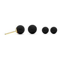 Natural Onyx Round Stud Earrings, 10Mm