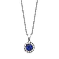 Sapphire And Diamond Circular Cluster Pendant